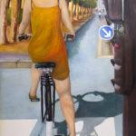 © Benoît Moreau à bicyclette... huile sur toile - 2006 - 200x 135 cm