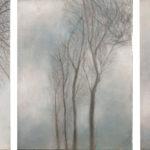 © Benoît Moreau - Arbre/brume I-II-III - Huile sur toile - 27 x 35 cm (3 toiles) - 2013