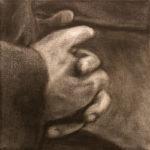 © bmo - Mains d'écrivains/Georges Bataille - fusain sur toile - 20x20 cm - 2018