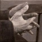 © bmo - Mains d'écrivains/GeorgesBataille - huile sur toile - 20x20 cm - 2018