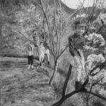 """© Benoit Moreau - Huile sur toile - 60x60 cm - 2021 """"Bestagne; un paradis perdu - Cliché G.Trubert - 1968"""""""