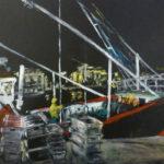 © Benoît Moreau - Bassin Bérigny /nuit 1 - huile sur papier - 29,7 x 42 cm – 2015