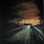 © Benoît Moreau - Routes/nuit/ville 4- gouache sur papier - 42 x 29 cm - 2012
