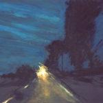© Benoît Moreau - Routes/nuit/crépuscule - huile sur papier - 42 x 29 cm - 2012