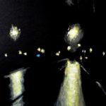 © Benoît Moreau - Routes/nuit/ville 3 - gouache sur papier - 42 x 29 cm - 2012
