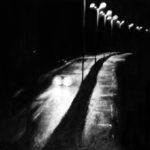 """© Benoît Moreau - Route/nuit/ """"on aime rouler…"""" - Ascenseur pour l'échafaud - Louis Malle- 1957 - huile sur toile - 65 x 100 cm - 2015"""
