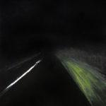 © Benoît Moreau - Route/nuit/Granville 5 - huile sur papier - 30 x 42 cm - 2014